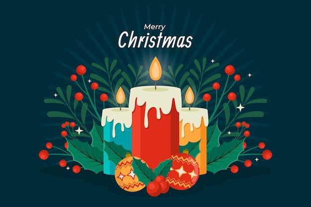 Platte kerst kaars achtergrond