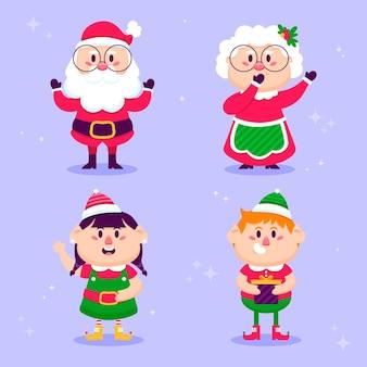 Platte kerst karakters collectie