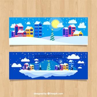 Platte kerst kleurrijke stad banner