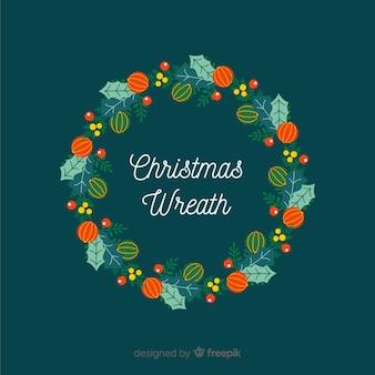 Platte kerst krans achtergrond