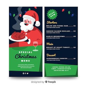 Platte kerst menusjabloon en de kerstman