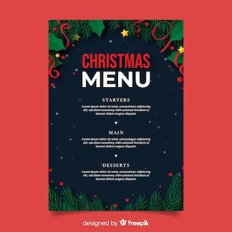 Platte kerst menusjabloon en pijnboombladeren