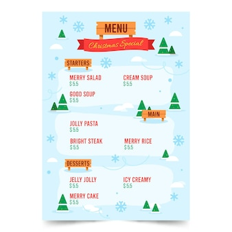 Platte kerst menusjabloon
