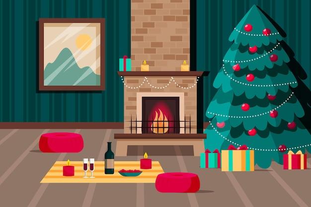 Platte kerst open haard scène