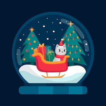 Platte kerst sneeuwbal globe met kitten