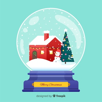 Platte kerst sneeuwbal globe