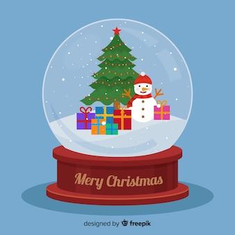 Platte kerst sneeuwbal wereldbol met boom