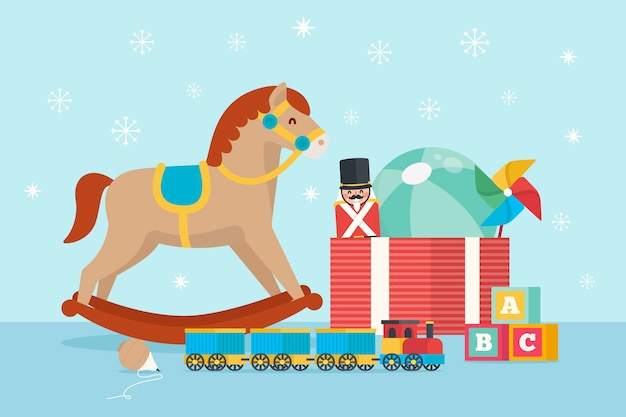 Platte kerst speelgoed achtergrond