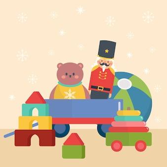 Platte kerst speelgoed behang