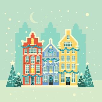 Platte kerst stad achtergrond