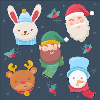 Platte kerst tekensverzameling