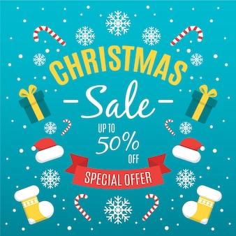 Platte kerst uitverkoop en geschenkdozen en kleding