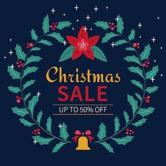 Platte kerst verkoop met gebladerte krans