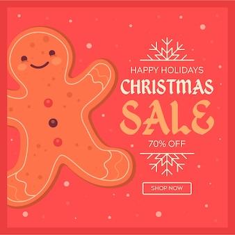 Platte kerst verkoop met smiley peperkoek