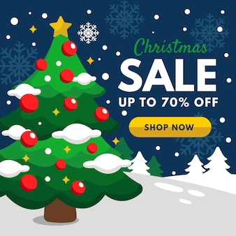 Platte kerst verkoop sjabloon
