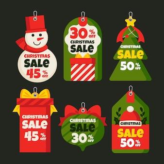 Platte kerst verkoop tag collectie