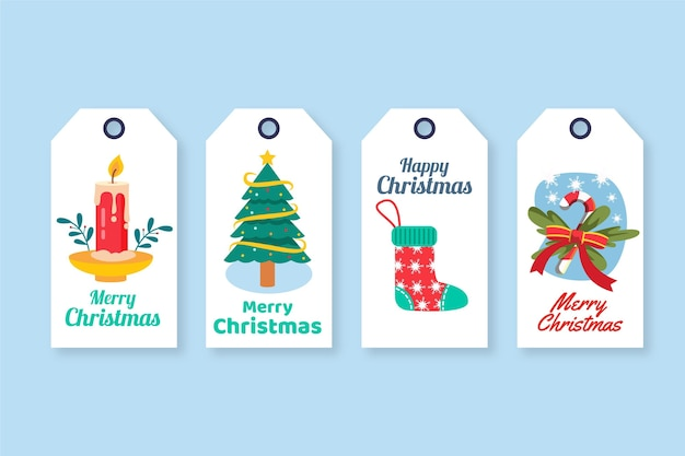 Platte kerst verkoop tag-collectie