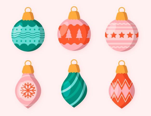 Platte kerstbal ornamenten collectie