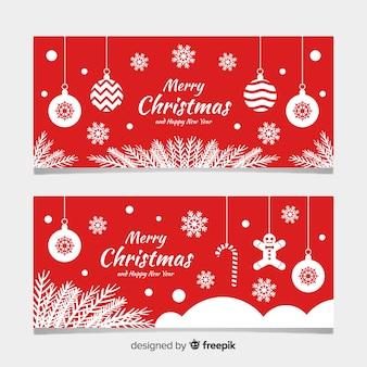 Platte kerstbanners met platte ontwerp