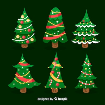 Platte kerstbomen collectie