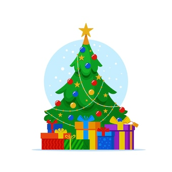Platte kerstboom met cadeautjes