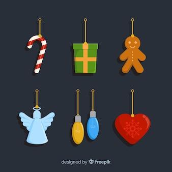 Platte kerstdecoratie met hangers