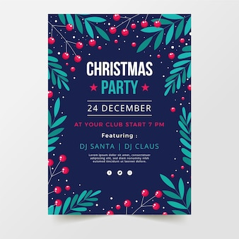 Platte kerstfeest poster sjabloon