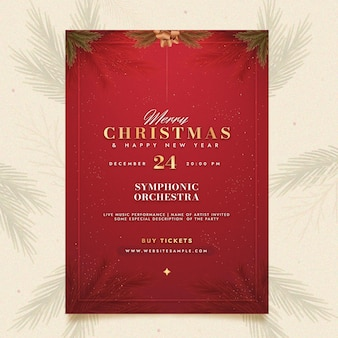 Platte kerstfeest poster sjabloon
