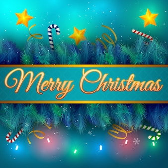 Platte kerstkaart met kerstboom takken sterren en zuurstokken vector illustratie