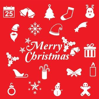 Platte kerstkaart met schattige kerst pictogram rode achtergrond Premium Vector