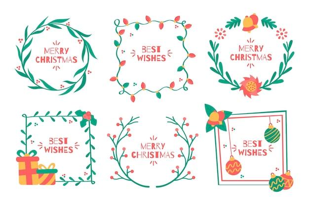 Platte kerstkaders en randen op witte achtergrond