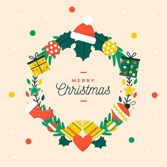 Platte kerstkrans met geschenken Gratis Vector