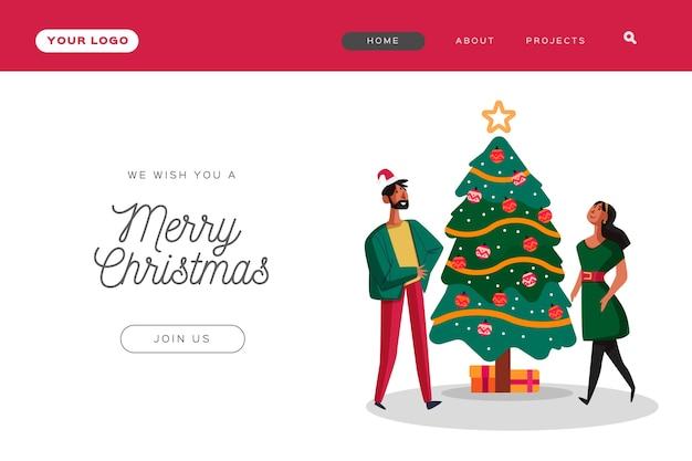Platte kerstlandingspagina met mensen die een boom versieren