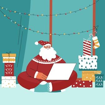 Platte kerstman karakter illustratie met laptop en cadeautjes