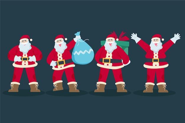 Platte kerstman karakterverzameling