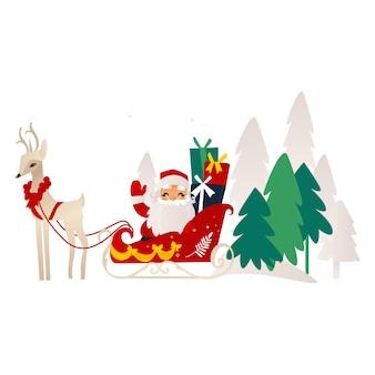 Platte kerstman met rendier slee