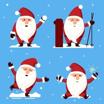 Platte kerstman tekenset