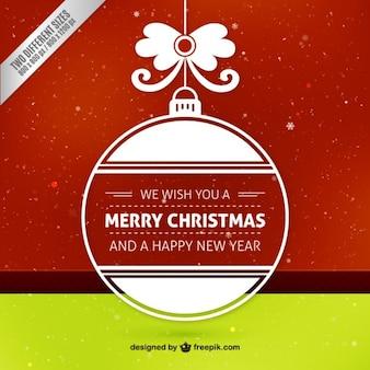 Platte kerstmis bal op rode achtergrond Gratis Vector