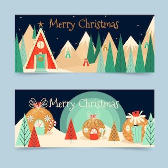 Platte kerststad banners