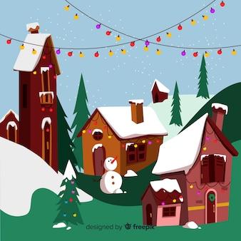 Platte kerststad met huizen