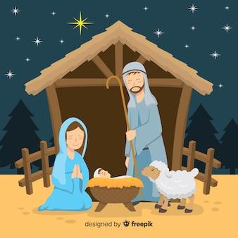 Platte kerststal achtergrond