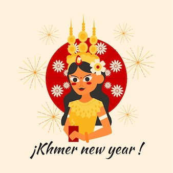 Platte khmer nieuwjaar illustratie