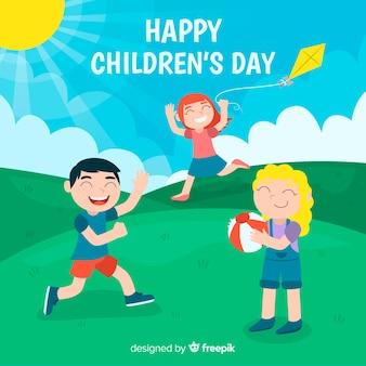 Platte kinderdag achtergrond met gelukkige kinderen