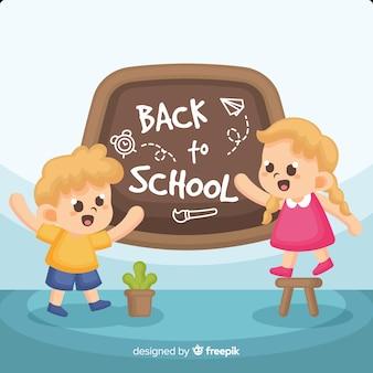 Platte kinderen terug naar school achtergrond
