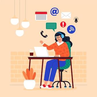 Platte klantenondersteuning illustratie