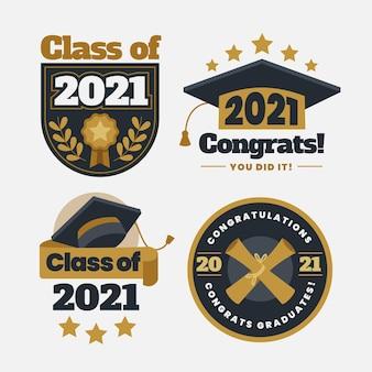 Platte klasse van 2021-badgecollectie