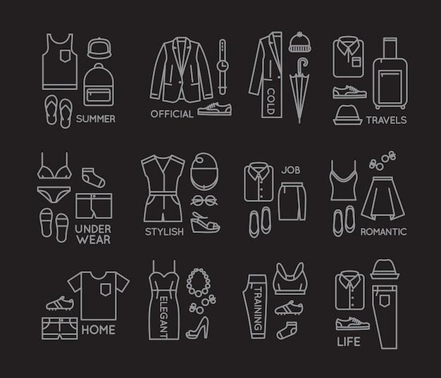 Platte kleding complect pictogrammen zwart