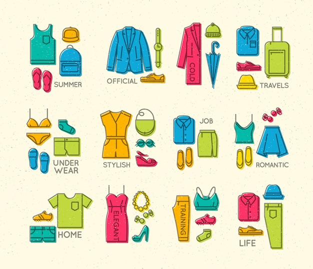 Platte kleding compleert pictogrammen kleur