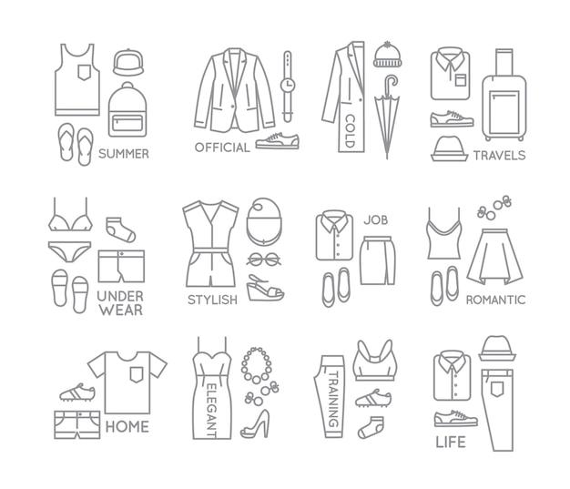 Platte kleding compleert pictogrammen