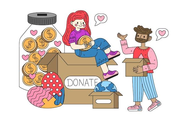 Platte kleding donatie concept